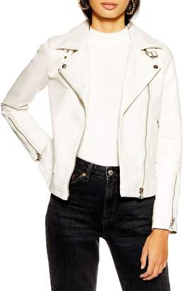 Topshop Lucky Faux Leather Biker Jacket