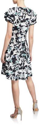 Oasis Modern American Designer Floral Flare Scuba Dress