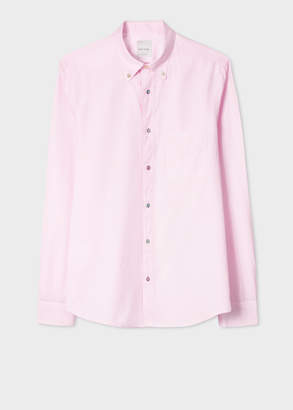 Paul Smith Men's Tailored-Fit Pink Cotton Button-Down Shirt With Charm Buttons