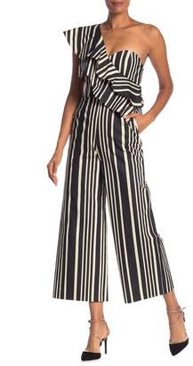 Alice + Olivia Sabeen Striped Ruffle Jumpsuit