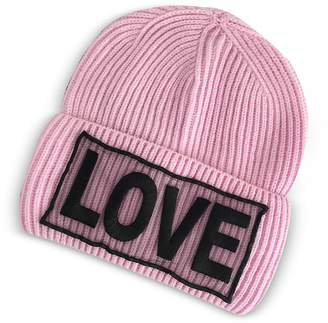 Versace Love Manifesto Pink Wool Knit Hat