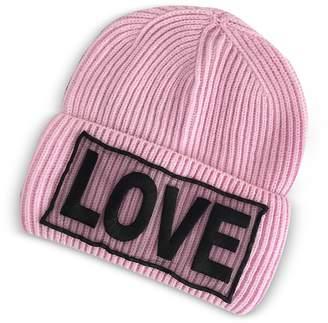Versace Love Manifesto Pink Wool Knit Hat
