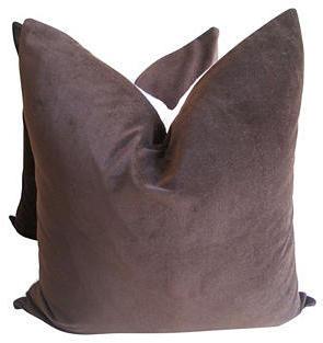 Fragments for Neiman Marcus Identity Chestnut Velvet & Linen Pillows, Pair