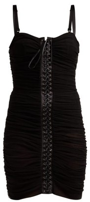 Dolce & Gabbana Ruched Tulle Lace Up Corset Dress - Womens - Black