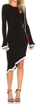 Ronny Kobo Dafne Contrast Ruffle Rib Dress - Black - White - S