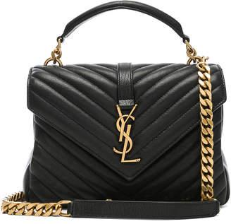 Saint Laurent Medium Monogramme College Bag in Black  a24ce978afbe4