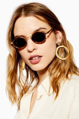 Topshop Womens Selma Round Tortoiseshell Sunglasses - Tortoise She