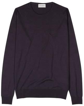 John Smedley Lundy Dark Purple Merino Wool Jumper