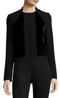 Elie Tahari Kemper Velvet-Combo Cropped Jacket, Black $448 thestylecure.com