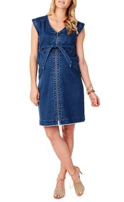 Ingrid & Isabel R) Front Zip Denim Maternity/Nursing Dress