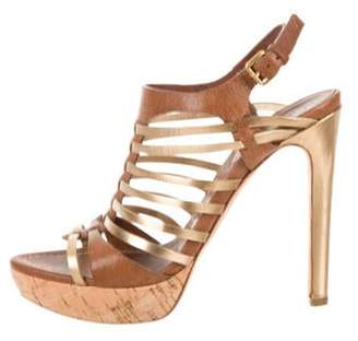 Miu Miu Platform Cage Sandals Brown Platform Cage Sandals