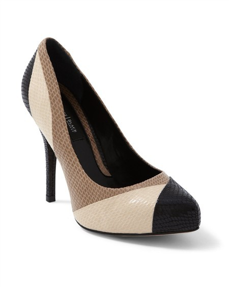 White House Colorblock Snake-Embossed Heel