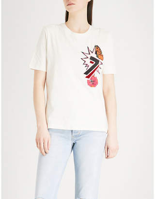 Maje Tiao embroidered cotton-jersey T-shirt