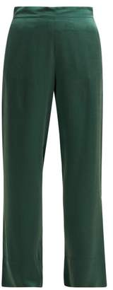 Asceno - Sandwashed Silk Pyjama Trousers - Womens - Dark Green