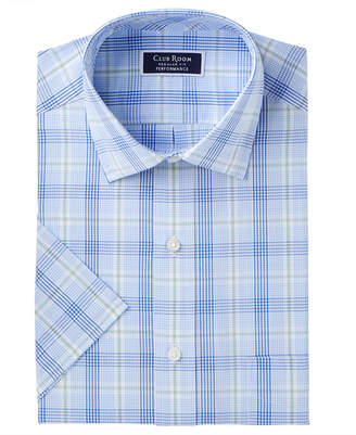 Club Room Men's Classic/Regular Fit Wrinkle-Resistant Glen Plaid Dress Shirt, Created for Macy's