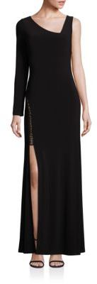 Laundry by Shelli Segal Asymmetrical Side-Slit Gown $275 thestylecure.com