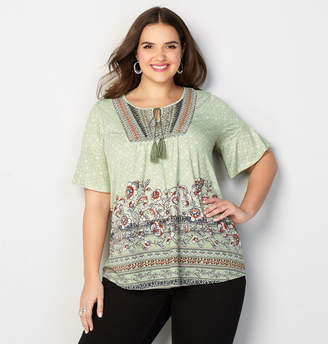 Avenue Floral Border Embroidered Top