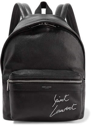 Saint Laurent Mini Toy City Embroidered Textured-leather Backpack - Black