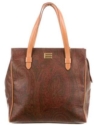 Etro Leather-Trimmed Paisley Satchel Brown Leather-Trimmed Paisley Satchel