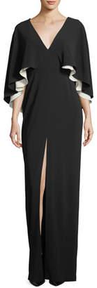Halston Colorblock V-Neck Cape Evening Gown
