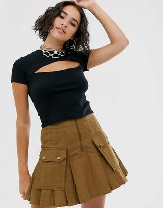 Bershka cut out front top in black