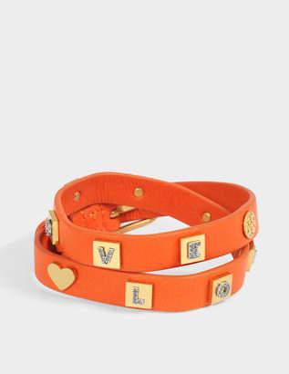 Tory Burch Message Double Wrap Bracelet in Tory Orange Vintage Gold Brass Enamel and Swarovski Stone
