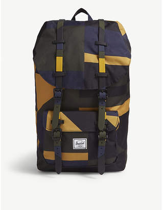 Herschel Black and Blue Woven Little America Canvas Backpack