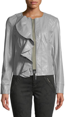 KUT from the Kloth Dahliana Faux-Leather Ruffle Jacket