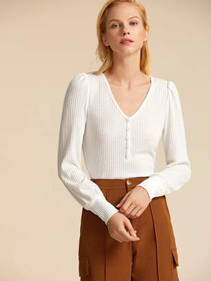 Shein V-neck Button Front Rib-knit Tee