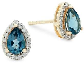 Saks Fifth Avenue Women's Diamond, London Blue Topaz and 14K Gold Pear Stud Earrings