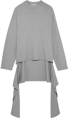 Balenciaga - Draped Cotton-jersey Sweater - Light gray $495 thestylecure.com