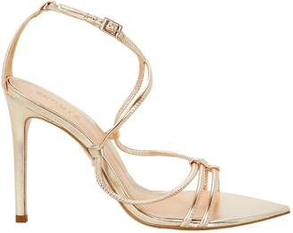 Schutz Evellyn Strappy Gold Leather Sandals