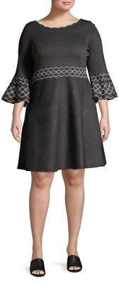 Gabby Skye Plus Bell-Sleeve A-Line Dress