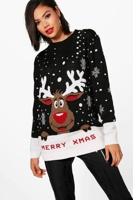 boohoo I Love Xmas Reindeer Christmas Jumper