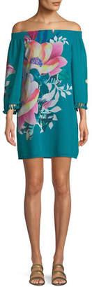 Trina Turk Amaris Photo Collage Floral Mini Dress w/ Tassels