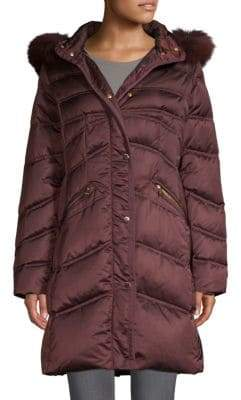 1 Madison Quilted Fox Fur-Trimmed Coat