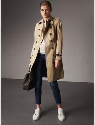Burberry Leather Trim Cotton Gabardine Trench Coat