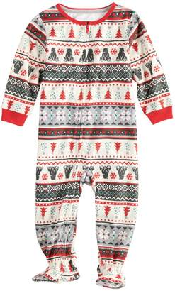 Cuddl Duds Baby/Infant Jammies For Your Families Polar Bear Fairisle Family Pajamas One-Piece Footed Pajamas