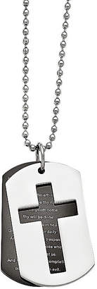 FINE JEWELRY Mens Stainless Steel Black Ip-Plated Lord'S Prayer Pendant