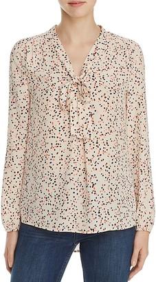 Daniel Rainn Confetti Print Tie Neck Blouse $78 thestylecure.com