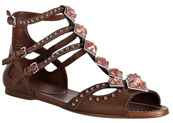 Miu brown leather jeweled studded flat sandals