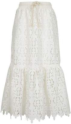 See by Chloe Floral-embroidered High-rise Lace Midi Skirt
