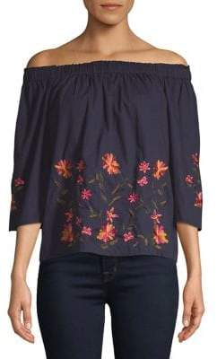 Vero Moda Floral Embroidered Off-Shoulder Blouse