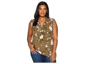 Bobeau B Collection by Plus Size Simi Tie Neck Blouse