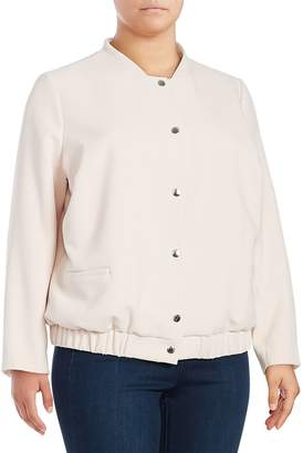 Vince Camuto Women's Snap Front Textured Bomber Jacket - Pink, Size 1x (14-16)