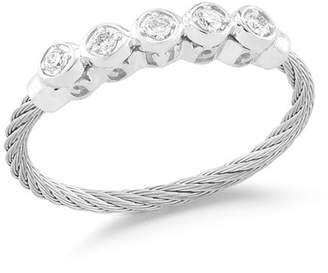 Alor Cable & 5-Diamond Bezel Ring Size 6.5