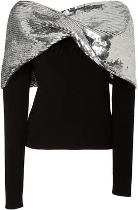 Monse Embellished Twist Shawl Sweater