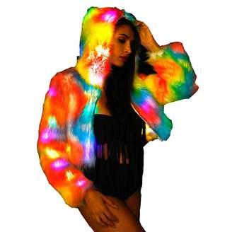 General Women Faux Fur Outwear Winter Light Up Glow Fluffy Sparking LED Coat (, M)