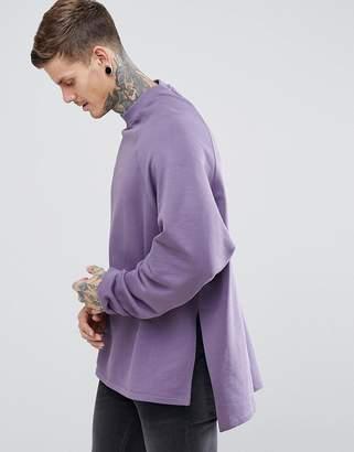 Asos DESIGN Super Longline Oversized Sweatshirt With Side Splits & Dropped Hem