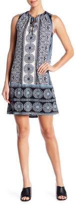 London Times Printed Tie Neck Shift Dress